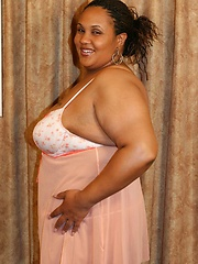 Massive ebony BBW stripping off her night gown to show off her chocolate black booty