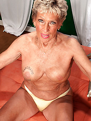 Double-stuffed blond granny Sandra