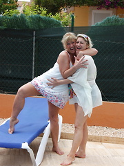 Two naughty German housewife making out on vacation